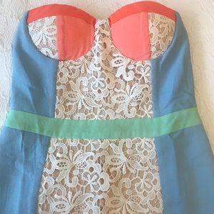 Strapless color block mini dress